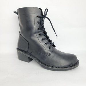 Fly London Milu Lace Up Leather Combat Boot Black
